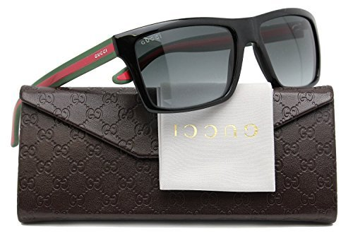 GUCCI GG1013/S Men Sunglasses Shiny Black w/Grey Gradient (051N) 1013/S 51N PT 56mm - Leather Gucci Sunglasses