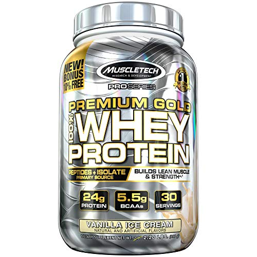 MuscleTech Premium Gold 100% Whey Protein Powder, Ultra Fast Absorbing Whey Peptides & Whey Protein Isolate, Vanilla Ice Cream, 30 Servings (2.23lbs)
