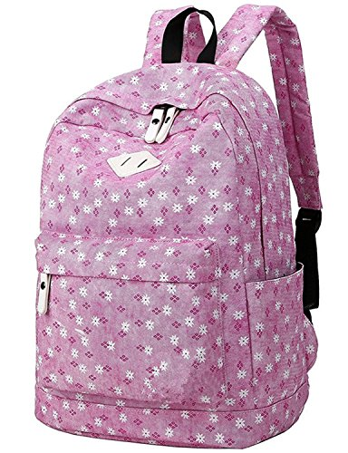 Josherly Polka Dot Canvas School Backpack Bag, Cute Bookbag for Teen Girls Womens PINK Floral2 ()