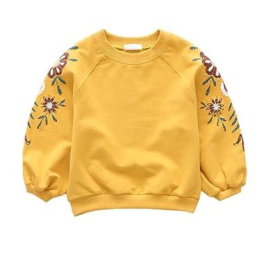 3258eeefd870c URMAGIC Bébé Manches Longues Tops Blouse Vêtements Enfant Fille Fleur  Broderie Sweat Automne Hiver Chaud Pull