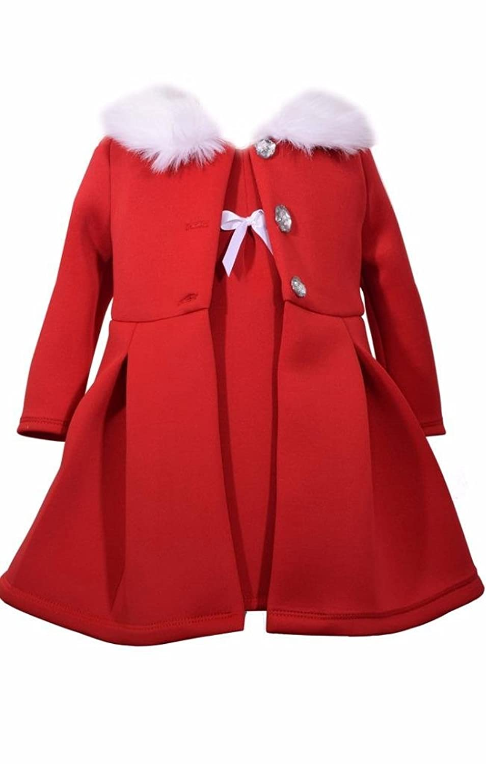 Kids 1950s Clothing & Costumes: Girls, Boys, Toddlers Bonnie Jean 2 Pc Christmas Dress Coat Set Red Faux Fur Trimming $42.99 AT vintagedancer.com