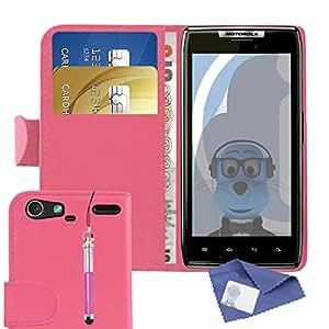 De piel sintética de piel sintética iTALKonline Motorola XT910 palo driver de múltiples-la función de con Protector de pantalla de rotuladores de crédito cubierta de la caja del organizador de utensilios de cocina con tapa y/de la tarjeta de visita dinero para tarjetas de aparcamiento para, incluye Protector de pantalla LCD y de Auriculares soporte de montaje en 3,5 mm Tamaño pequeño retráctil de punta de bola de pantalla y lápiz capacitivo, compatible con Motorola XT910 RAZR