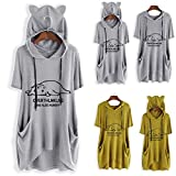 Sunmoot Clearance Sale Plus Size T Shirt for Womens Hooded Tops Girls Summer Casual Cartoon Print Cat Ear Graphic Short Sleeve Side Pockets Tunic