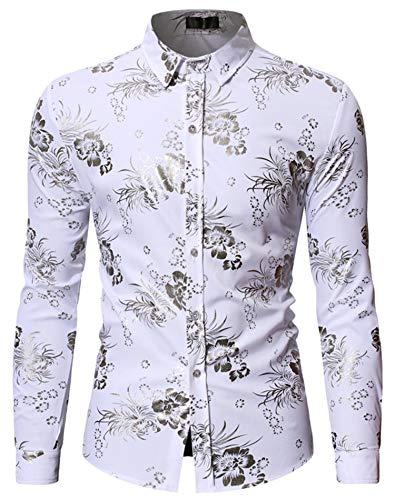 - HOP Fashion Mens Folral Flowers Print Shirt Luxury Gold Silver Design Long Sleeve Slim Fit Button Down Shirts HOPM342-White-M