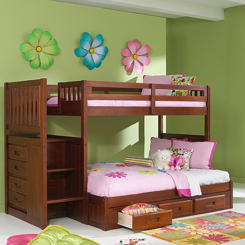 Merlot Twin Full Staircase Bunk with 3Drw