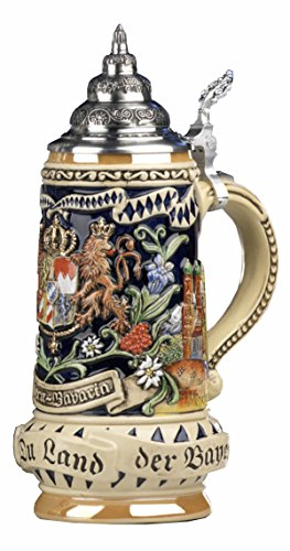 German Beer Stein Bavaria Stein, State Coat of Arms in centre panel, flanked by views of Munich and Neuschwanstein Castle, State Motto translated: God with you, Land of the Bavarians 0.5 liter tankard, beer mug by KING