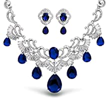 Bling Jewelry CZ Pear Simulated Blue Sapphire Wedding Set Rhodium Plated