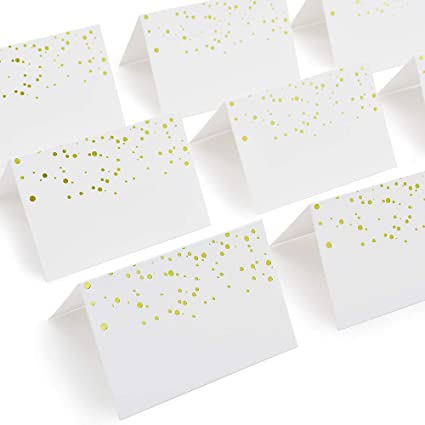 AZAZA 50 Pcs Place Cards With Gold Foil Dots Textured