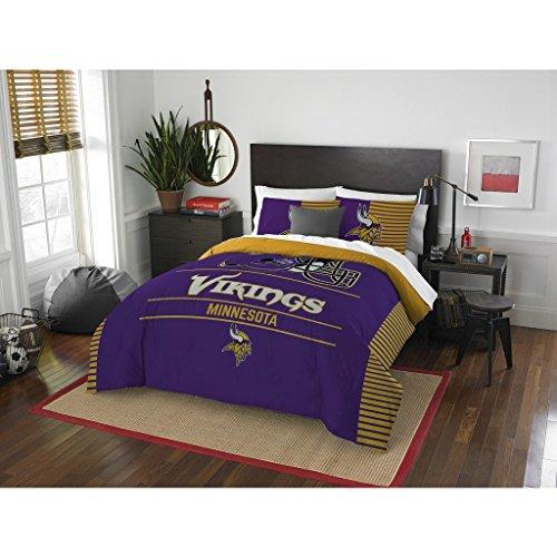 Minnesota Vikings Comforter Set Bedding Shams NFL 3 Piece Full-Queen Size 1 Comforter 2 Shams Football Linen Applique Bedroom Decor Imported