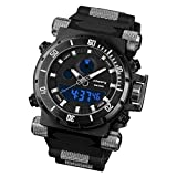 INFANTRY® Men's Military Night Vision Analogue Digital Quartz Wrist Watch with Black Strong Silicone Rubber Strap