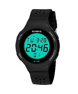 BOBOLover Multi-Función 50M Impermeable Reloj Led Digital Doble Acción Reloj,Movimiento Electrónico,Negro