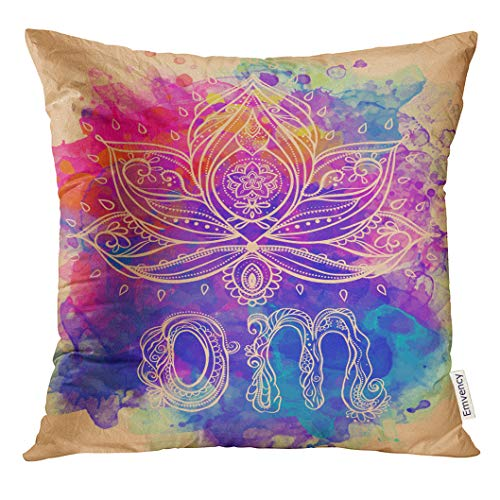 (Emvency Throw Pillow Cover Ornamental Boho Lotus Flower Geometric Perfect for Any Other Kind of Birthday Holiday Medallion Yoga Decorative Pillow Case Home Decor Square 18x18 Inches Pillowcase)