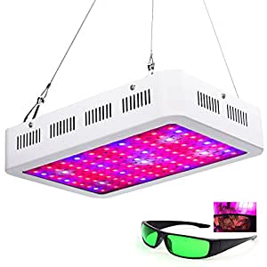 1000W Full Spectrum LED Grow Light for Indoor Plants Veg and Flower Garden Greenhouse Hydroponic Plant Grow Lights with Zener Protector(10W100) with Eye Glasses Protection