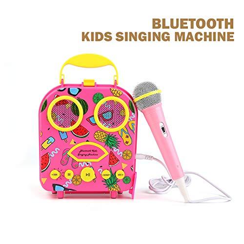 Bluetooth Speaker Children's Karaoke Speaker Portable Microphone Beach Handbag Karaoke Bluetooth Speaker Wireless Cartoon Speaker for Kids for Indoor Outdoor Travel Activities with Microphone (Pink) by HowQ (Image #1)
