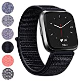 Vancle for Fitbit Versa Band, Woven Nylon Wristband with Adjustable Velcro Connector Sport Strap Replacement for Fitbit Versa Fitness Smart Watch Women Men