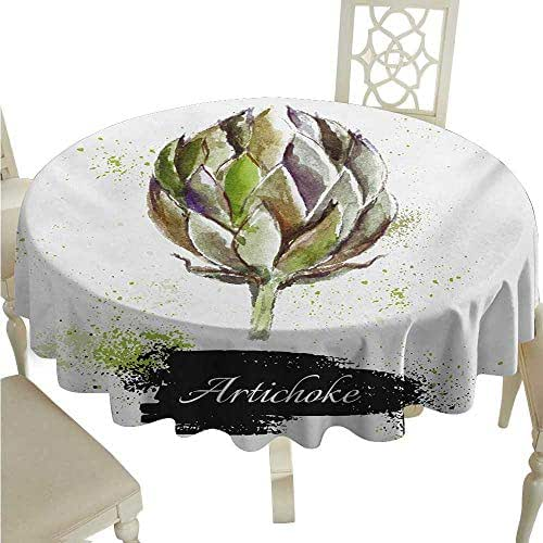 Artichoke Flow Spillproof Fabric Tablecloth Hand Drawn Delicious Fresh Vegetable Healthy Menu Good Eats Super Food Waterproof/Oil-Proof/Spill-Proof Tabletop Protector D60 Fern Green and Black