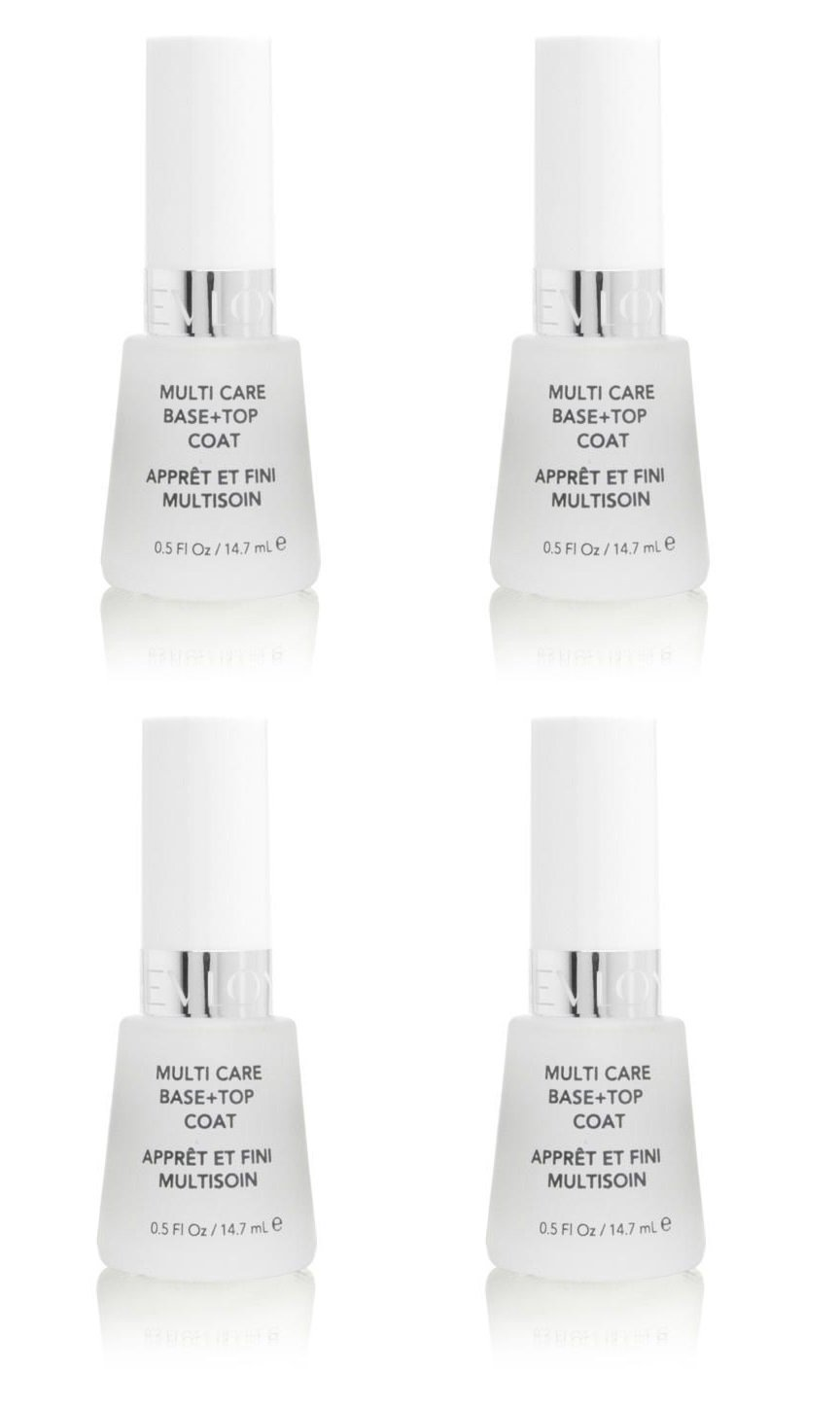 Revlon Nail Polish Multi Care Base+top Coat 0.5 Oz (4 Pack) + FREE Makeup Blender