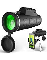 Monocular Telescope, High Power Waterproof Monocular Telescope BAK4 Monoculars with Phone Clip and Tripod for Cell Phone. HD Monocular for Bird Watching
