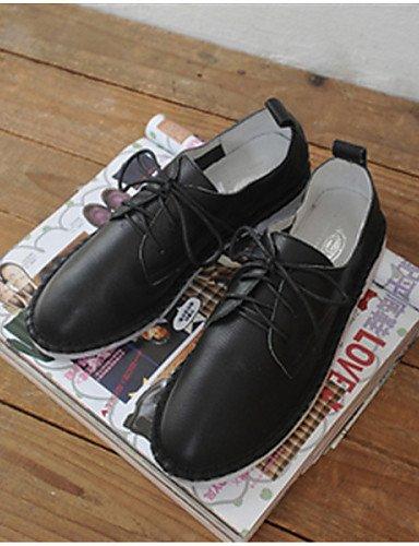 Redonda White Cn39 Punta Oxfords Tacón Zapatos Semicuero De Mujer Bajo Negro us8 Eu39 Blanco Uk6 Njx Casual RnqY7TCR