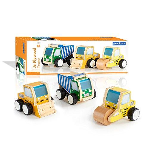 Guidecraft Jr Plywood Construction Truck, Roller and Loader - Kids Toys Set