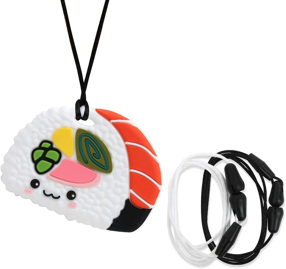 AmazingM Sushi Sensory Chew Necklace for Boys and Girls,Food Grade Silicone Safety Pendant Chewy Teether Jewelry for Kids with Autism, ADHD,Oral Motor,Teething,Biting Needs