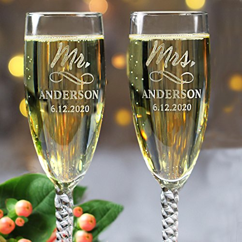All Things Weddings Personalized Mr and Mrs Wedding Toasting Champagne Flutes, Set of 2, Engraved Customized Flutes for Bride and Groom, Gift Box NOT included