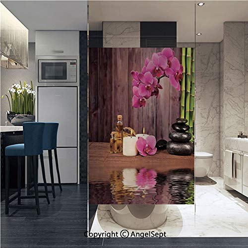 (AngelSept Window Films Privacy Glass Sticker Spa Flower Water Reflection Aromatherapy Bamboo Blossom Candlelight Static Heat Control Anti UV 22.8In by 35.4In, )