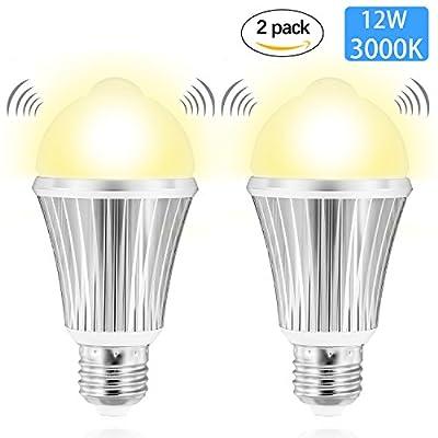 Motion Sensor Light Bulb, Witshine LED 12W 1000LM 100W Equivalent, Dusk to Dawn Ambilent Light Sensor, E26 Base Indoor Outdoor Light Bulbs Cool White 6500K for Wall Lighting Porch