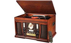 Victrola Nostalgic Aviator Wood 7-in-1 Bluetooth Turntable Entertainment Center, Mahogany
