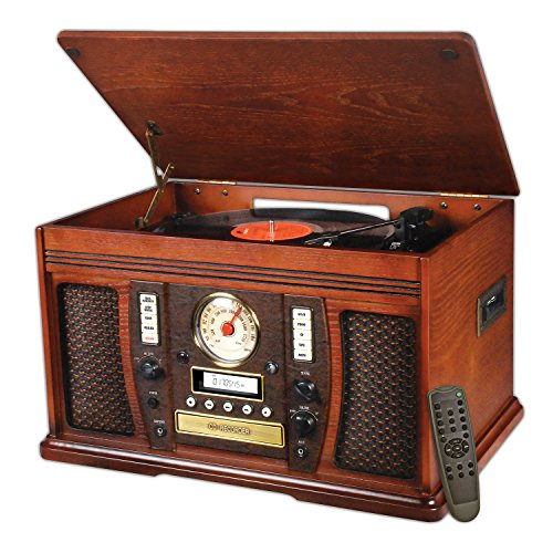 (Victrola Nostalgic Aviator Wood 7-in-1 Bluetooth Turntable Entertainment Center, Mahogany)
