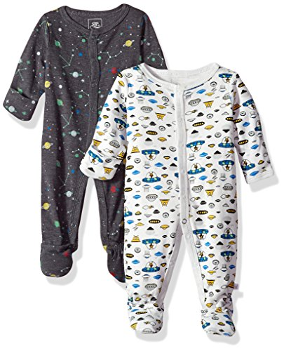 Rosie Pope Baby Boys Coveralls 2 Pack, Spaceship, 6-9 -