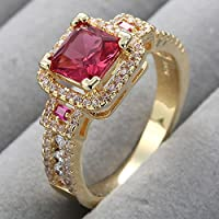 Siam panva Luxury Womens 18K Yellow Gold Filled Ruby Ring Engagement Wedding Party Jewelry (7)
