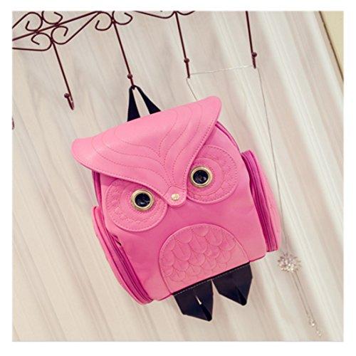 dos Sac Mode Pu rouge rose Fille Chouette Sac Mini Cuir Cartoon à qYEdIIw