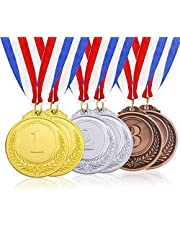 6 Pcs Metal Gold Silver Bronze Award Medals with Ribbon, Olympic Style Winner Medals for Kids Children's Events, Classrooms, Office Games and Sports