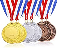 6 Pcs Metal Gold Silver Bronze Award Medals with Ribbon, Olympic Style Winner Medals for Kids Children's E