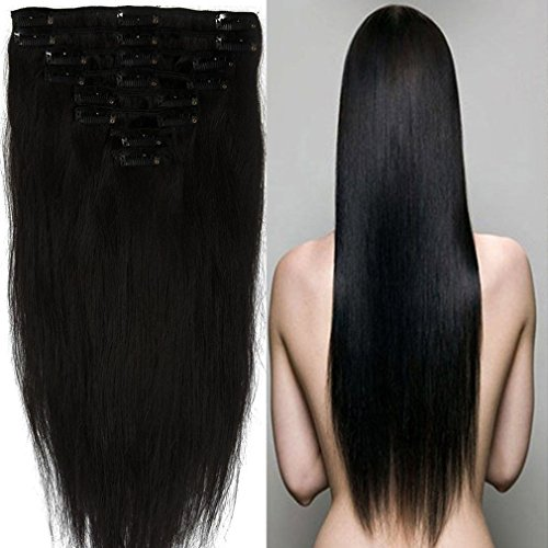 Price comparison product image 100% Real Remy Clip Grade AAAAA Natural Hair Full Head Standard Weft 8 Pieces 18 Clips in Hair Extensions Long Smooth Soft Silky Straight for Fashion Women
