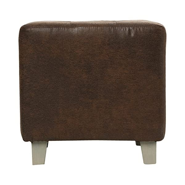 Tabouret carré aspect cuir vielli maron