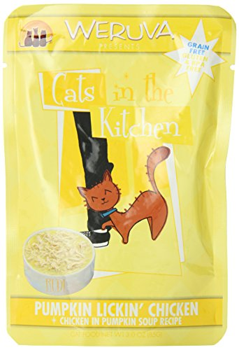 Weruva Cats in the Kitchen, Pumpkin Lickin' Chicken with Chicken Breast in Pumpkin Soup Cat Food, 3oz Pouch (Pack of 8)