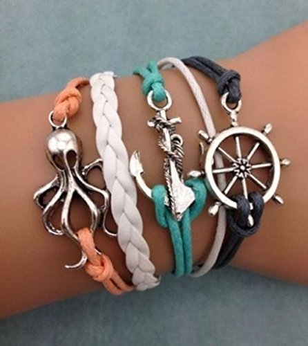 iVan Boys / Girls Leather Metal Multilayer Braided Friendship Octopus Anchor Rudder Charm Bracelets (Child Dolphin Costume Homemade)
