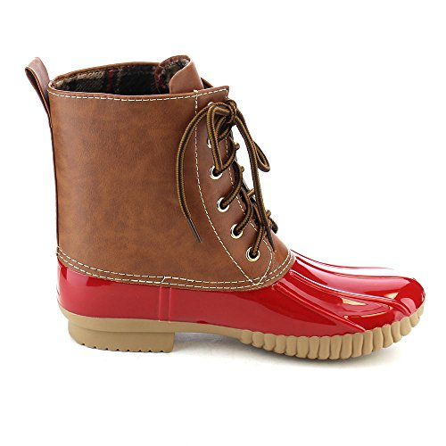 Axny Two Combat Boots Up Tone Women's Rain Style Duck Dylan Lace Red Calf qpCqnTZ