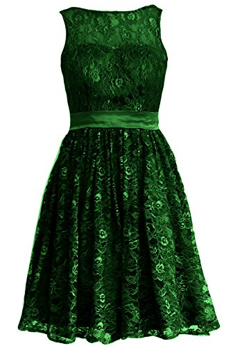 MACloth Women Straps Lace Short Bridesmaid Dress Cocktail Party Formal Gown (26w, Dark Green)