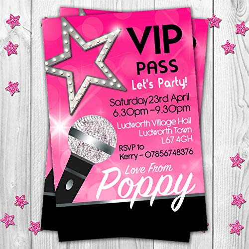 10 VIP Karaoke Dance Disco Pop Star Themed Personalised Birthday Party Invitations Invites Pack of 10 With Free Envelopes