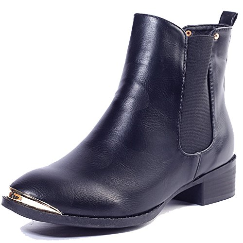 Alexis Leroy - Classic Style Steel Toe Solid Ankle Boots para mujer Negro