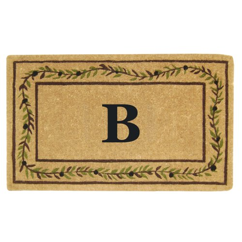 Nedia Home Heavy Duty Coco Mat with Olive Branch Border, 22 by 36-Inch, Monogrammed B