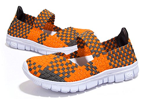 on Orange Women's Slip Walking Breathable Shoes CAMSSOO Sneakers Mesh Woven Stretch Mary Janes Loafers Fashion Pvvxq6nw4d