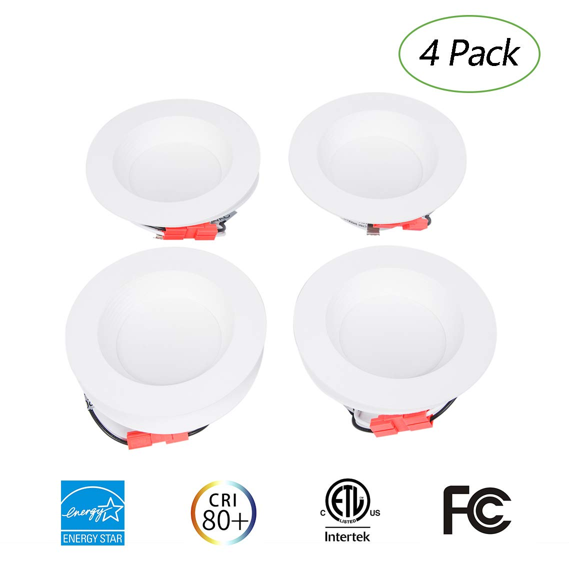 EFFOE 4 inch LED Downlight, 5000K Daylight White, 9W LED Ceiling Light(65W Equivalent),650lm, E26 Base, 100° Beam Angle, CRI90, Decorative Recessed Lighting Fixture, Dimmable, 4 Pack