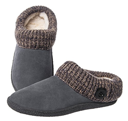 Womens Microsuede Clog (Festooning Women's Plush Lined Knitted Microsuede Slip On Memory Foam Clog House Anti-Slip Slippers Shoes Indoor Outdoor G8)