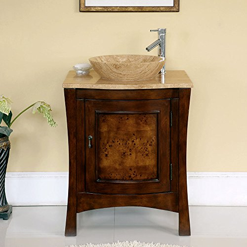 26'' Bathroom Furniture Travertine Top Double Sink Vanity Cabinet 714T by Silkroad Exclusive