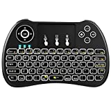 WISEWO H9 2.4GHz Backlit Mini Wireless Keyboard, Handheld Remote with Touchpad Mouse for Android TV Box, Windows PC, HTPC, IPTV, Raspberry Pi, XBOX 360, PS3, PS4