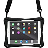 9-9.7'' inch Tablet case, Cooper Trooper 2K Shoulder Strap Rugged Heavy Duty Tough Bumper Protective Drop Shock Proof Rubber Silicon Carry Kids Toy Work Holder Carrying Cover Bag, Stand (Black)